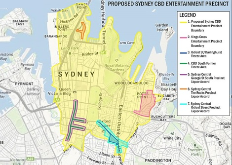 Proposed entertainment zone affected by the new laws
